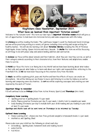 Kingfishers Curriculum Newsletter Autumn Term 2019-20