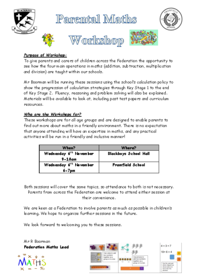Parental Maths Workshops on 6th Nov