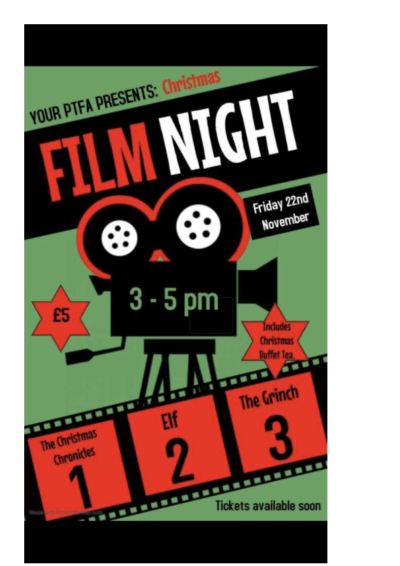 PTFA Film Night on 22nd November