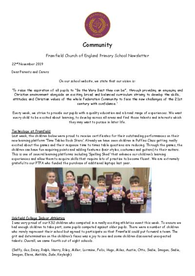 Newsletter 22nd November