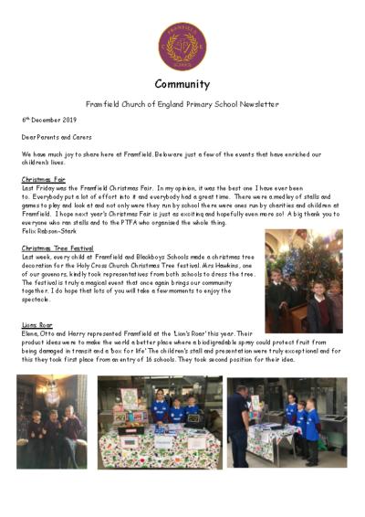 Newsletter 6th December