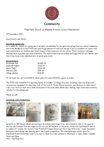 Newsletter 19th December