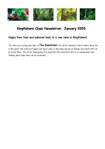 Kingfishers Curriculum Newsletter Term 3/4 2019-20