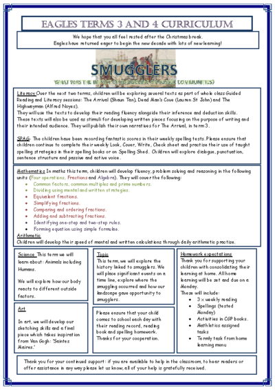 Eagles Curriculum Newsletter Spring Term 2019-20