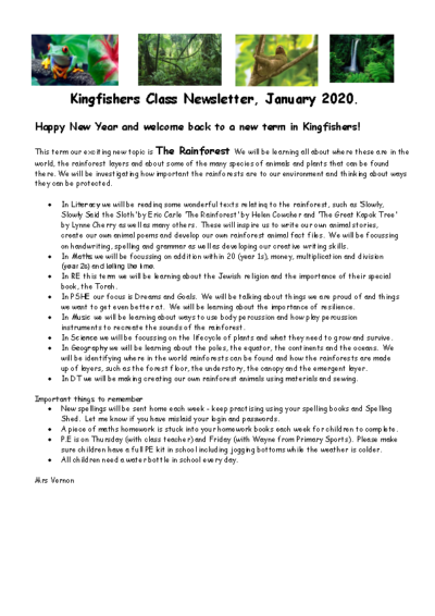 Kingfishers Curriculum Newsletter Spring Term 2019-20