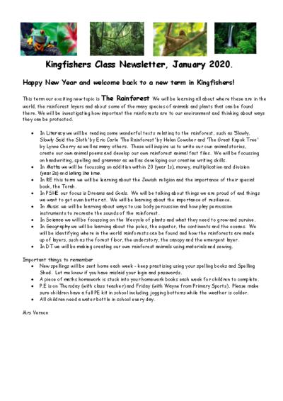 Kingfishers Curriculum Newsletter Spring Term 2019-20