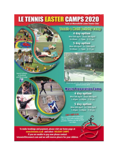 Le Tennis Easter and Summer Camps