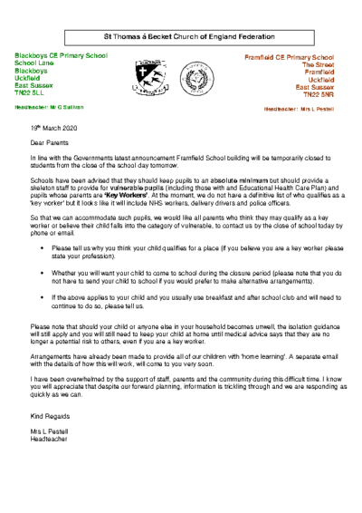 Letter to Parents About Key Workers