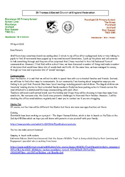 Newsletter 3rd April