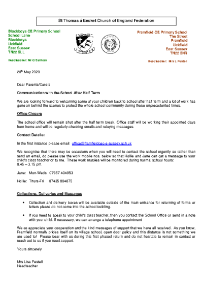 Communication with the School After Half Term