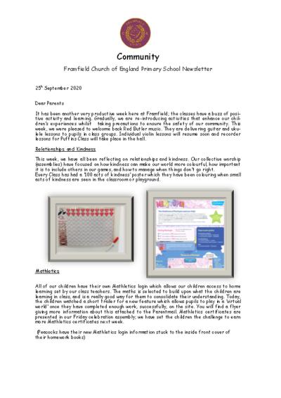 Newsletter 25th September