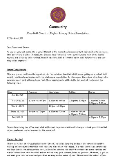 Newsletter 2nd October