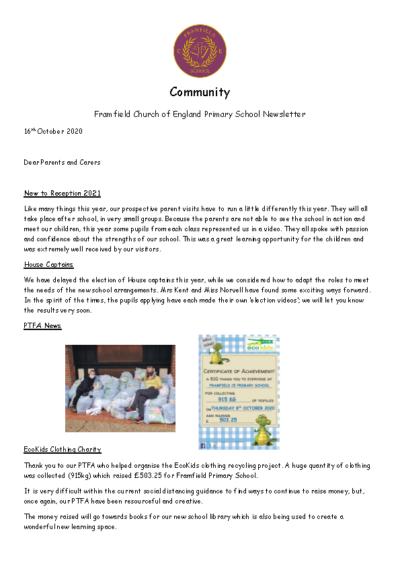 Newsletter 16th October
