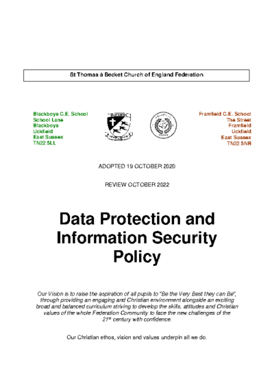 Data Protection and Information Security Policy