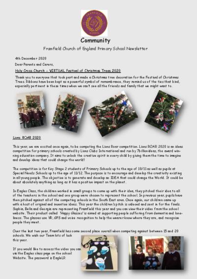 Newsletter 4th December