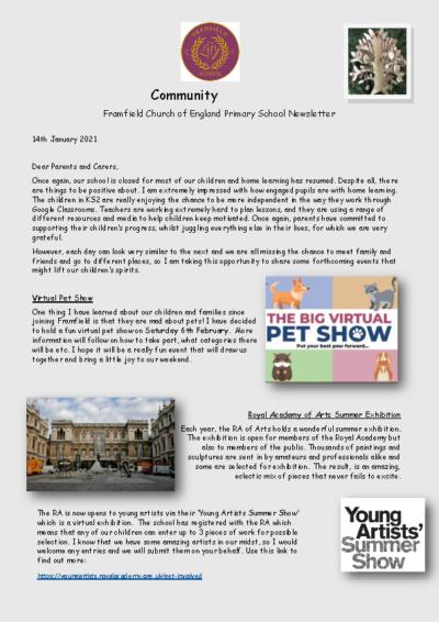 Newsletter 14th January