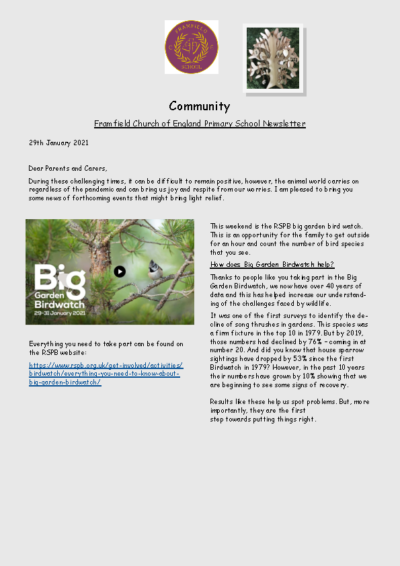 Newsletter 28th January