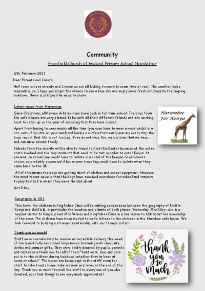 Newsletter 12th February