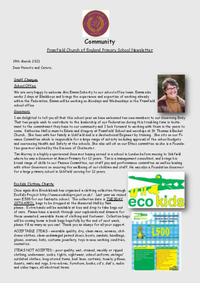 Newsletter 19th March