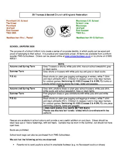 School Uniform List June 2020