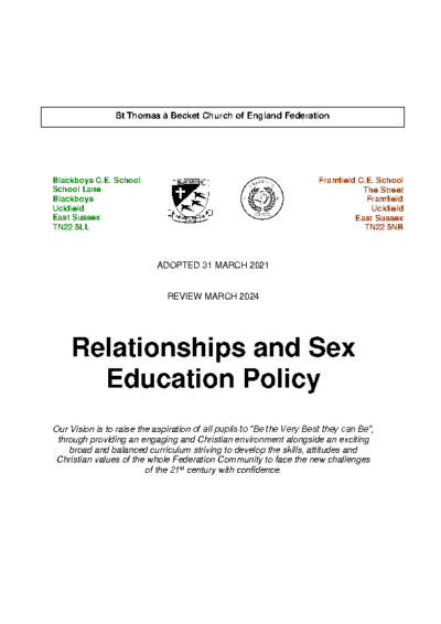Relationships & Sex Education Policy