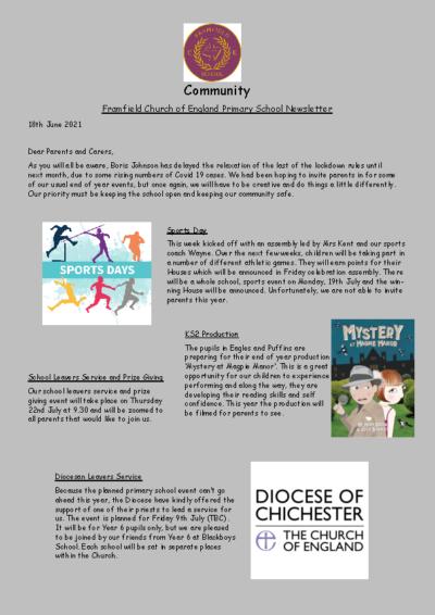 Newsletter 18th June