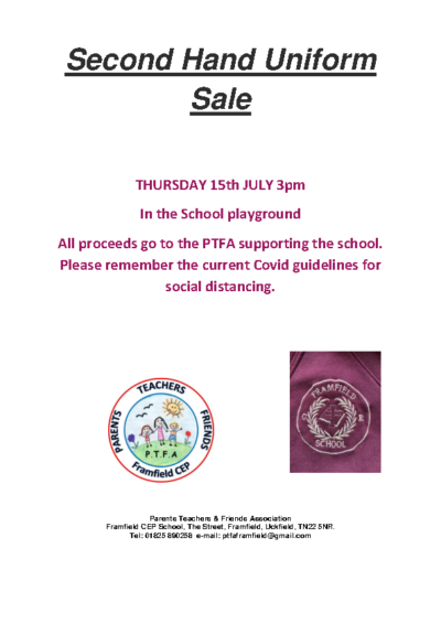 Second Hand Uniform Sale on 15th July