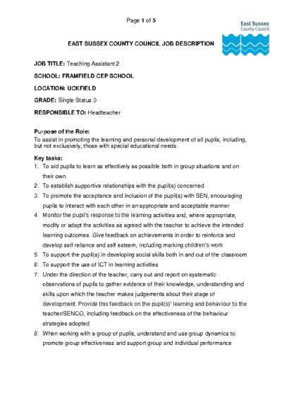 Teaching Assistant 2 Job Description