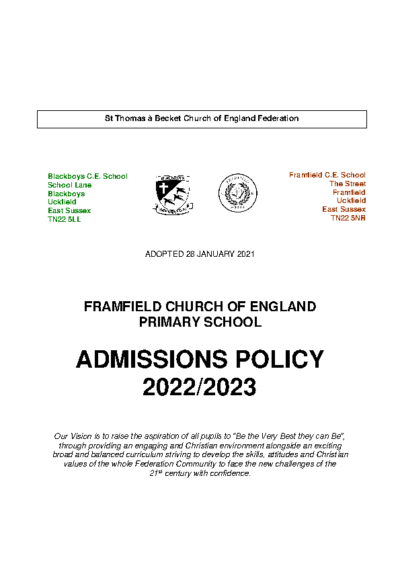 Admissions Policy 2022-23