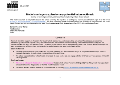 Contingency Plan 31/08/2021
