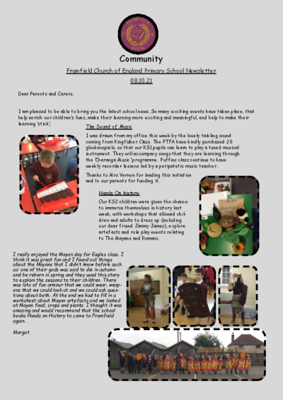 Newsletter 8th October